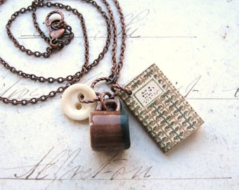 A Good Read - Handmade Copper Chain Necklace With Miniature Book, Mug and Vintage Bone Button with Gift Box