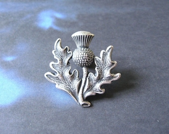 Scottish Thistle - Antiqued Silver Plated Thistle Brooch, Lapel Pin or Tie Pin, Tie Tack with Gift Box