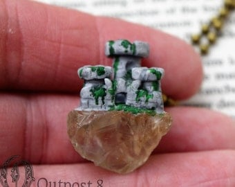 Mossy Castle Ruins -  Polymer Clay and Citrine Crystal Necklace