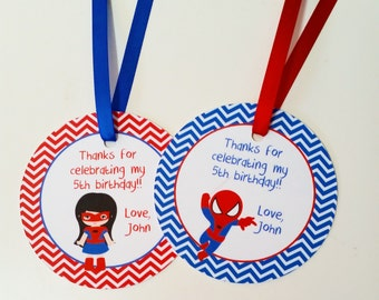 Superhero Friends Party - Set of 12 Personalized Favor Tags by The Birthday House