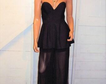 Black Strapless Jumpsuit S