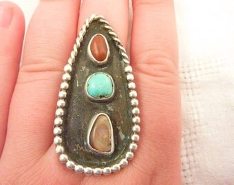 Vintage Native American Sterling Silver Turquoise, Coral and Shell Ring Size 10 1/4
