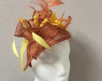 Burnt orange fascinator yellow accents Kentucky derby wedding mini hat FIRST GLANCE