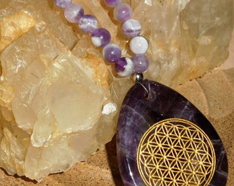 Amethyst Crystal Sacred Geometry Flower of Life Necklace
