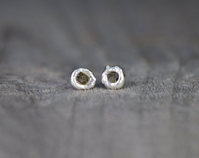 Raw Diamond Earring Studs In Gray, Rough Diamond Ear Studs, Diamond Wedding Gift Handmade In England