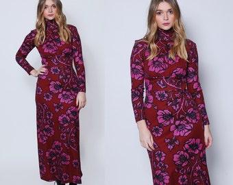 Vintage 70s Maxi Dress Burgundy FLORAL Dress Printed Boho Dress Graphic Print Maxi Dress