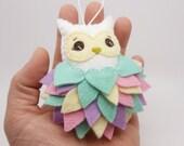 Felt Easter Owl Ornament, Felt Easter Decoration, Felt Easter Ornament, Felt Owl Ornament, Easter 2017 Gift, Pastel Owl Ornament