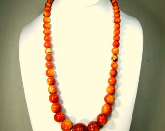 Apple Sponge Coral Necklace, Graduated Round Earthy Red Bead Long Single Strand, 1970s, The Bounty of The Ocean