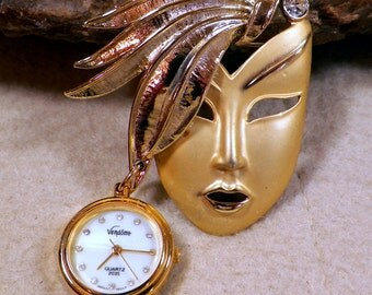 Vintage Vendome Ladies Lapel Pin/Watch, Brushed Satin Gold Tone Mask, Unique & Attractive 1960-1970s Estate Jewelry