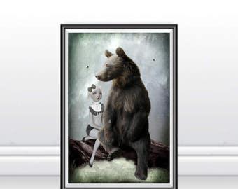 Goldilocks Art Print - Goldilocks & Bear - Fairytale Art Print - Wall Decor