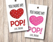 10 You Make my Heart Pop Tags, Personalized Popcorn Valentine Tags, Valentine Popcorn Tags . 2 x 3.5 inches