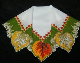 Vintage Scalloped Fall Autumn Leaves Leaf Floral Wedding Favor, Craft Handkerchief - 9789