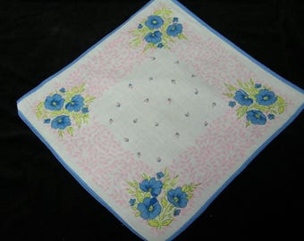 "Vintage 1940's 10 1/2"" Pink and Blue Floral Wedding, Bridesmaid Handkerchief or Doily, 9821"