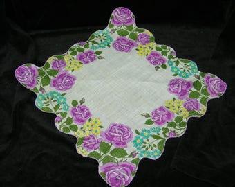 "Vintage 50's 13"" Scallop Purple, Teal Blue Floral Wedding Favor, Banner, Pocket Square Handkerchief - 9837"