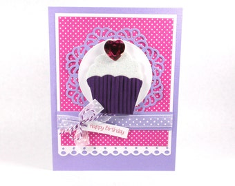 Cupcake birthday card, happy birthday, girls birthday, women, female