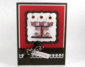 Cupcake birthday cards, cupcake cards, happy birthday cards, birthday cards for girls, embossed birthday cards,  women's birthday