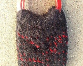 Smartphone Sweater Cozy Bangle Bag Sparkly Black Red  - OOAK handknit EtsyMom