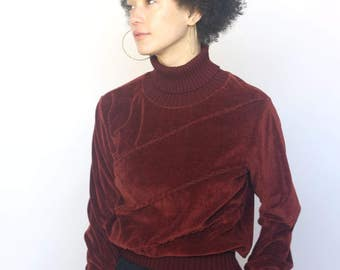 the emma sweater -- vintage 80's terry cloth velvety turtleneck sweater S/M/L