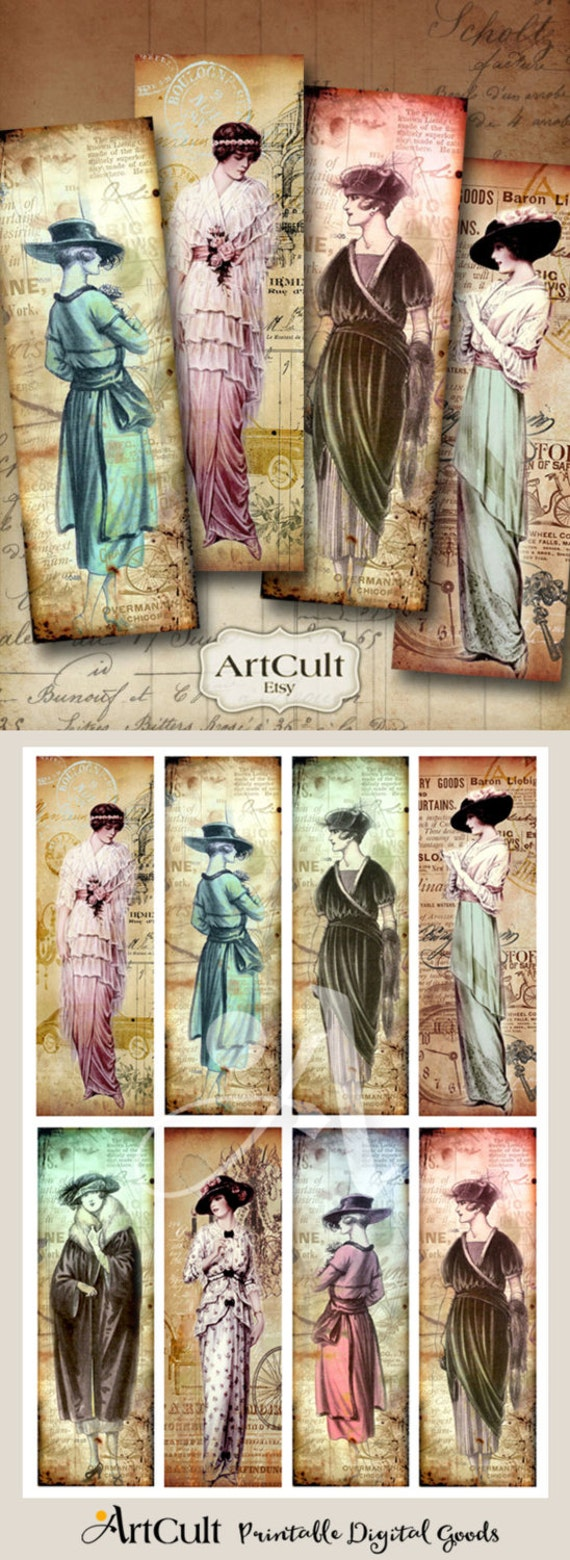 Bookmarks Printable download DOLLED UP Digital Collage Sheet Vintage Paper Craft Fashion gift Tags Jewelry Holders hang tags by ArtCult
