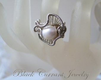 Freshwater Pearl and Sterling Silver - Ring size 5, 6, 7, 8 or 9 US - Wire Wrapped - I will adjust the size