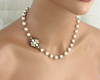 Pearl Wedding necklace, Bridal necklace, Champagne crystal necklace, Bridal jewelry, Vintage style necklace, Antique gold, Swarovski crystal