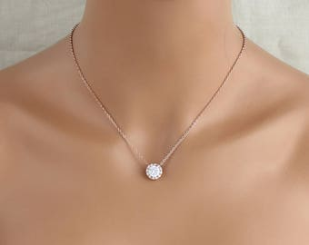 Rose Gold Bridal necklace, Solitaire necklace, Bridal jewelry, Crystal wedding necklace, Wedding jewelry, Bridesmaid jewelry, Halo necklace