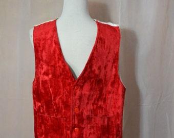 Mens Red Velvet Vest Costume Quality