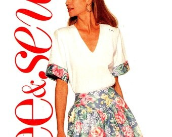 V Neckline Top Wide Leg Palazzo Shorts Butterick See and Sew 5424  Sewing Pattern Misses Size 6 8 10 12 14 Bust 30.5 31.5 32.5 34 36