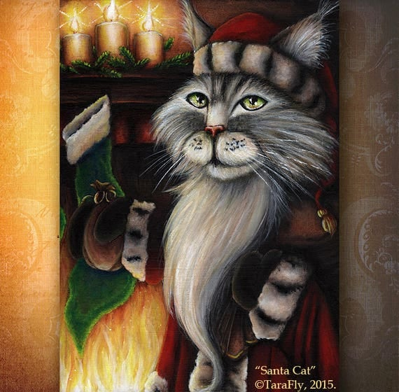 Santa Cat 5x7 Holiday Fine Art Print