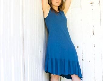 SAMPLE SALE - Size Small - Montana Ruffled Tank Dress - Chocolate Brown - Organic Women's Clothing - Ready to Ship - Eco Fashion - Boho Chic