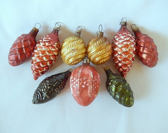 antique Christmas ornaments, glass ornaments, 9 ornaments, walnuts, pine cones fish, vintage Christmas