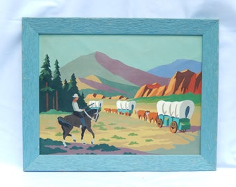 vintage paint by number, Wild West, cowboy, covered wagon, horses, 1950s, home decor, wallhanging, picture