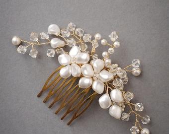 TABITHA | pearl wedding headpiece, gold bridal hair piece