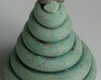 Ceramic Tree, CHRISTMAS TREE,  Holiday Art, Clay Tree, Tree and Star, Turquoise Green, Gold and Turquoise, Green Tree, Tree, Spirit Tree