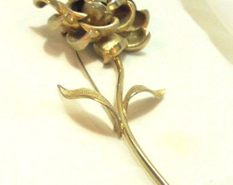 Vintage Large 5 Inch Gold Tone Layered Flower Pin