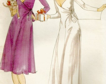 Hard to Find Vtg 70s Butterick 5119 Misses Dramatic Plunging V - Neckline Wrap Evening Gown and Dress Sewing Pattern by Designer John Kloss