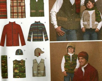 Simplicity 4053 UNCUT Mens Sportsmens Hunting Jacket, Utility Vest, Scarf, Fleece Cap and Ear Flap Hat Sewing Pattern Size 34-48