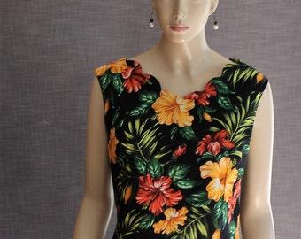 1950's reproduction Classic Summer Blouse. Hawaiian BARKCLOTH fabric