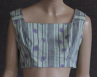 blouse / vintage / 1950s pattern / cotton / handmade / retro design / 50's / pinup / designer / OOAK / vintage fabric / crop top
