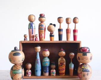 Vintage Kokeshi Doll Collection / Japanese Bobble Heads / Nodders / Wooden Art Dolls