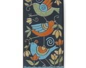 Birds ,Ceramic tile,Whimsical,turquoise,yellow, handmade, wall art, home decor 3x6 raku fired art tile
