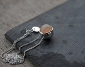 Light Peach round Moonstone ball pendant necklace