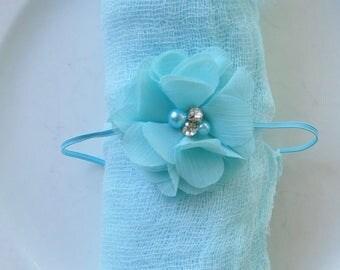 Newborn Baby Swaddle Wrap Headband Set Teal Light Blue with Chiffon Flower Headband Cheesecloth Swaddle Wrap Set Photography Prop Photo
