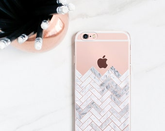 iPhone 7 Case Clear, iPhone 7 Plus Case Marble iPhone 6S, Plus, SE, 5S, Herringbone, Chevron Gift for Her, Women