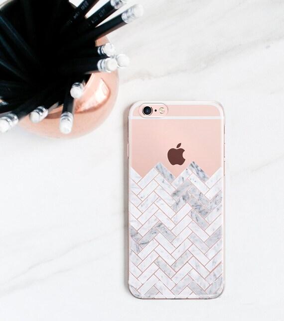 Marble Tile IPhone 7 Case Clear 8 Plus Herringbone