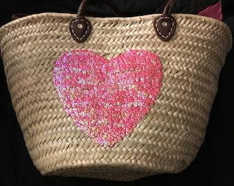 French Market Bag, Heart Pattern Market Bag, French Bag, French Market Handbag, French Beach Bag, French Straw Market Bag, Handmade Bag