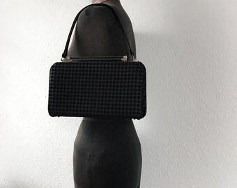 Vintage 1950s 1960s Checkered Black Purse Handbag