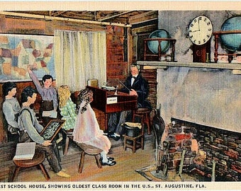 Vintage Florida Postcard - The Oldest Classroom in the Oldest School House, St. Augustine (Unused)