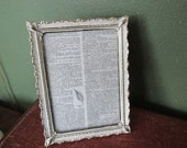 Vintage Picture Frame 5 x 7  Narrow White Metal Glass and Backing with Unique Swivel Stand