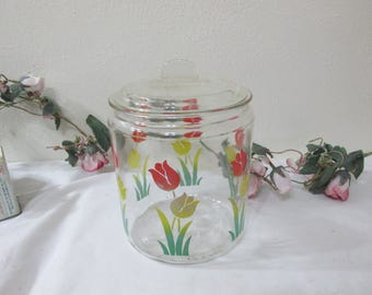 Tulip Cookie Jar Clear Glass